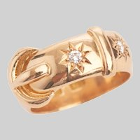 Antique 18 KT Gold and Diamond Buckle Ring