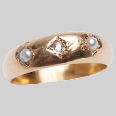 Antique 18 KT Diamond and Pearl Gypsy Ring