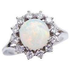 Vintage Opal and Diamond Ring in 18 KT White Gold