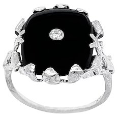 Vintage Black Onyx and Diamond Ring set in 14 KT White Gold