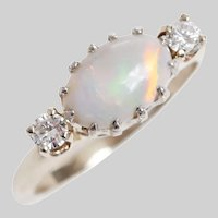 Vintage Cabochon Opal and Diamond Crown Set Ring