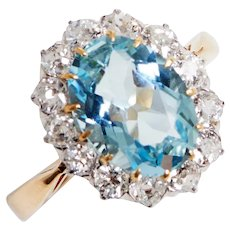 Antique Aquamarine and Old Euro Diamond Cluster Ring