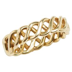 Vintage Hand Crafted 14 KT Gold Braided Band