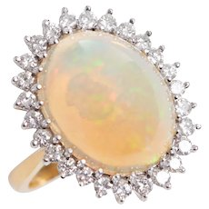Vintage 1970's 18KT Gold Opal and Diamond Cocktail Ring