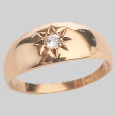 Antique 18 KT Gold Diamond Star set Gypsy Ring