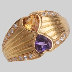 Vintage 18 KT Amethyst and Citrine Double Hearts Ring