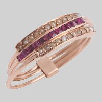 Victorian 15 KT Rose Gold Ruby and Pearl Harem Ring