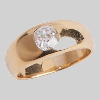 Antique 18 KT Gold and Diamond Gypsy Ring