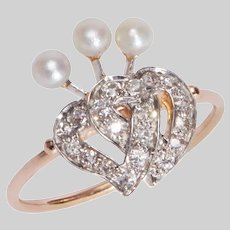 Victorian Double Diamond Heart and Pearl Ring