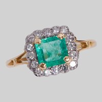 Edwardian 18KT and Platinum Carved Emerald and Diamond Halo Ring
