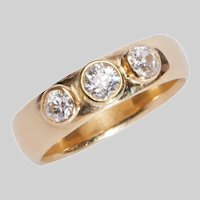 Vintage 3 Stone Gypsy Style 18 KT Gold Ring
