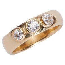 Vintage 3 Stone Gypsy Style 18 KT Gold Ring