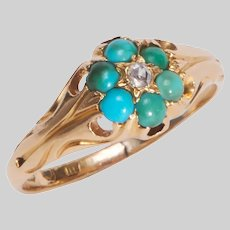 Antique Turquoise and Diamond Flowerhead Ring