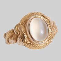 Antique Serpent and Cabochon Moonstone Ring