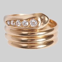 Antique 18KT Serpent Ring with Old Euro Diamonds