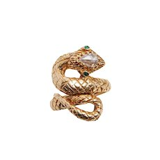 Exceptional Vintage Serpent Ring with Rose cut Diamond and Emeralds