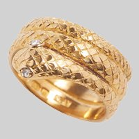 Exceptional Antique Hand Carved 18KT Gold and Rose Cut Diamond Serpent Ring