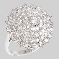 Diamond and 18 KT White Gold Elevated Dome Ring