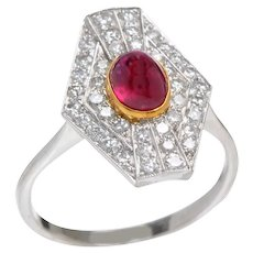 Edwardian 18KT Gold Ruby and Diamond Ring