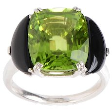 Vintage Peridot and Onyx set In Platinum Ring