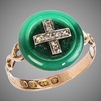 12 KT. Rose Gold and Jade Button Ring