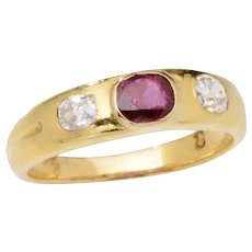 18 KT Gold Ruby and Diamond Gypsy Ring