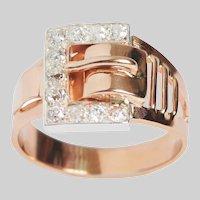Antique 14 KT Rose Gold Buckle Ring