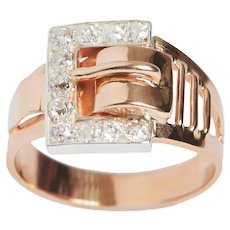 14 KT Rose Gold and Diamond Buckle Ring