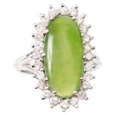 Apple Green Nephrite Jade and Diamond Ring set in 18 KT White Gold