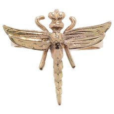 14 KT. Yellow Gold Engraved Dragonfly Banded Ring