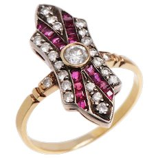 Art Deco 18 KT. Rosy Yellow & White Gold Ruby and Old European Diamond Ring