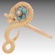 14 KT.Gold, Turquoise and Pearl Winding Snake Ring with Floral Detail