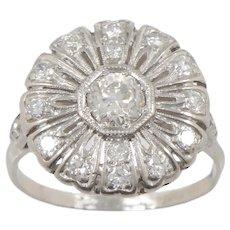 Art Deco Platinum and Old European Diamond Petal Ring