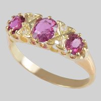 Pink Sapphire Ring and Diamond set in 18 KT. Yellow Gold