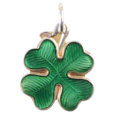Enamel and Sterling Silver Shamrock Charm / Pendant