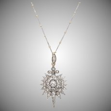 Victorian Diamond Elongated Starburst Pendant