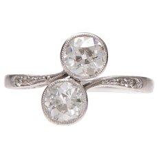 Art Deco Toi and Moi Ring set in Platinum