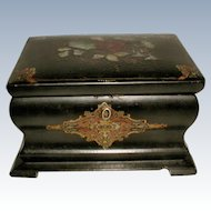 English Tea Caddy 19th Century Inlaid Papier Mache