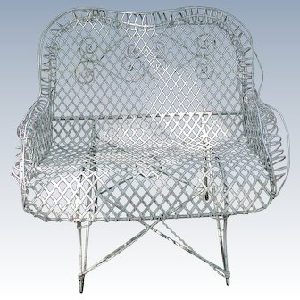 19th Century French Wire Garden Settee