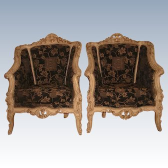 Pair 18th C French Arm Chairs Hand Carved