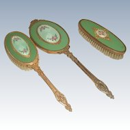 Apollo Vanity Set 3 Piece Gold Plated Enameled Early 1900's