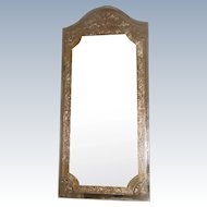 Unusual Beveled Foil Mirror Silver Gold 20th C