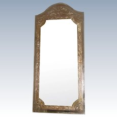 Unusual Beveled Foil Mirror Silver Gold 20th C