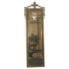 Neoclassical French Etched Mirror Gilt Black