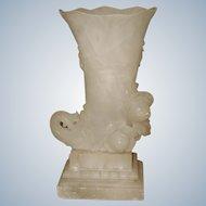 Alabaster Cornucopia Vase Large C.1900