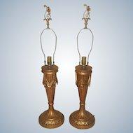 Italian Swag Lamps Gilt Rewired 20th Century