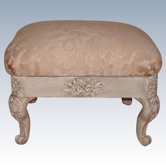 French Carved Footstool Early 20th C Newly Upholstered