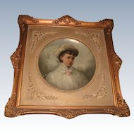 19th C Papier Mache Oil Portrait Ornate Frame