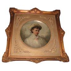 19th C Papier Mache Oil Portrait Ornate Frame