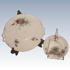 3 Piece English Porcelain Set & Display Stands 19th Century